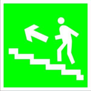 Е16 Направление к эвакуационному (вверх, налево по лестнице)