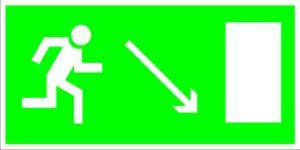 Е07 Направление к эвакуационному (справа внизу)
